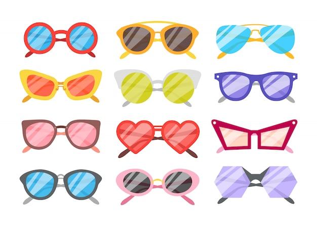 Sonnenbrillen icons set Kostenlosen Vektoren