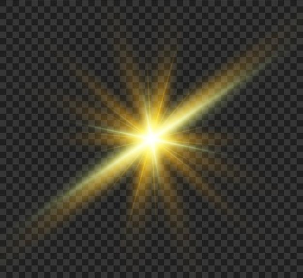 Sonneneruption. schöner heller magischer aufgehender stern mit hellen strahlen. schimmernde lichtgrafiken. Premium Vektoren
