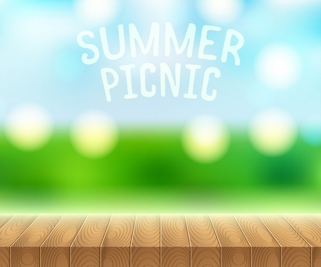 Sonnenlicht auf sommerhimmel mit hölzernem picknicktisch Premium Vektoren
