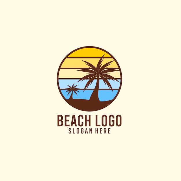 Sonnenschein und strandurlaub logo Premium Vektoren