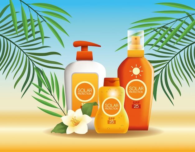 Sonnenschutzflaschen produkte für den sommer Kostenlosen Vektoren
