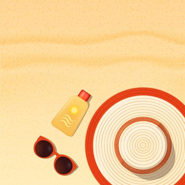 Sonnenschutzgegenstände, die auf sandstrand, sonnencreme, sonnenbrille und huthintergrund liegen Premium Vektoren