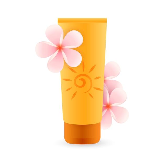 Sonnenschutzmittel mit rosa blüten Kostenlosen Vektoren