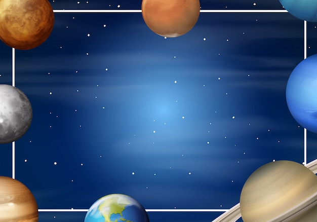 Sonnensystem-cartoon-rahmen Kostenlosen Vektoren