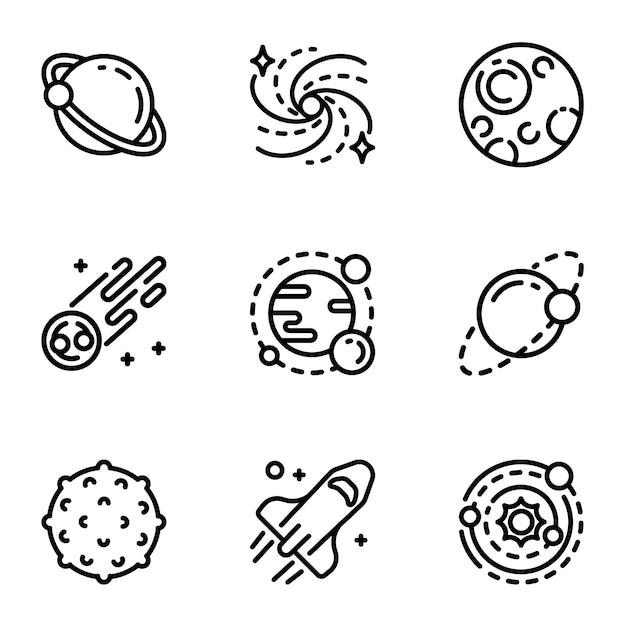 Sonnensystem-icon-set. gliederungssatz von 9 sonnensystemikonen Premium Vektoren