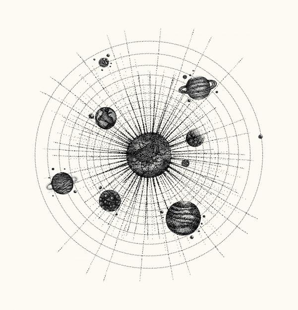 Sonnensystem im dotwork-stil. planeten im orbit. Premium Vektoren