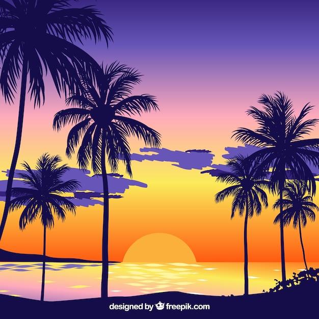 sonnenuntergang hintergrund am strand mit palmen download der kostenlosen vektor. Black Bedroom Furniture Sets. Home Design Ideas