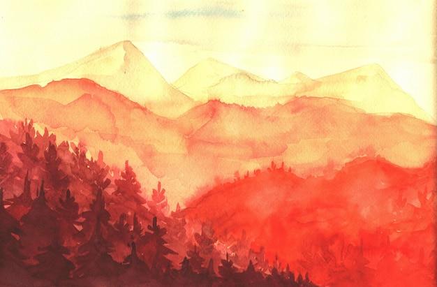 Sonnenuntergang in den bergen, aquarellillustration. Premium Vektoren