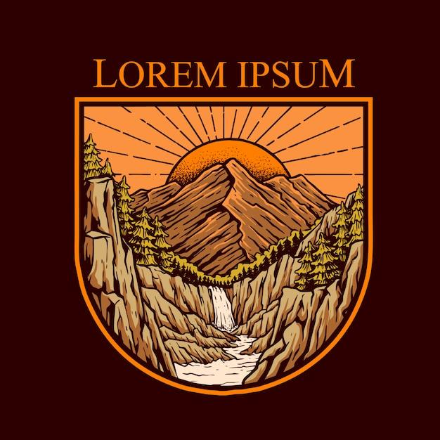Sonnenuntergang in der bergklippenillustration Premium Vektoren