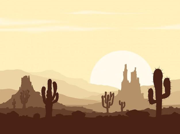 Sonnenuntergang in der steinwüste mit kakteen Premium Vektoren