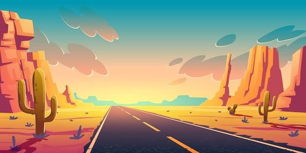 Sonnenuntergang in der wüste mit straße, kakteen und felsen Kostenlosen Vektoren