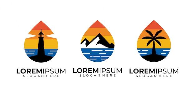 Sonnenuntergang, meer, berg, baum, leuchtturm und strand logo design Premium Vektoren