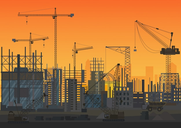 Sonnenuntergang-schattenbildillustration der bau-skyline im bau. Premium Vektoren