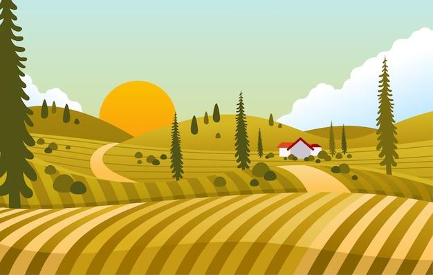 Sonnenuntergangansicht in der landschaft mit haus in der mitte des grünen feldes Premium Vektoren