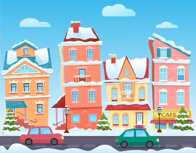 Sonnige nette karikatur stadtstraße am winter. cartoon gebäude Premium Vektoren