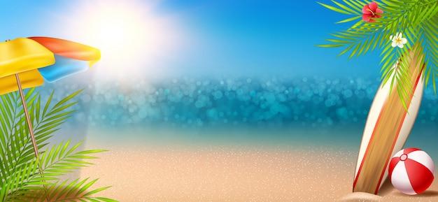 Sonniger sommerhintergrund mit ozean und strand Premium Vektoren