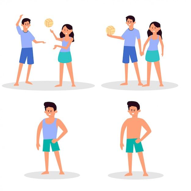 Sonniger tag am strand. sommeraktivitäten am strand. sport und freizeit. junge, mädchen, mann, frau, surfer, touristen. Premium Vektoren