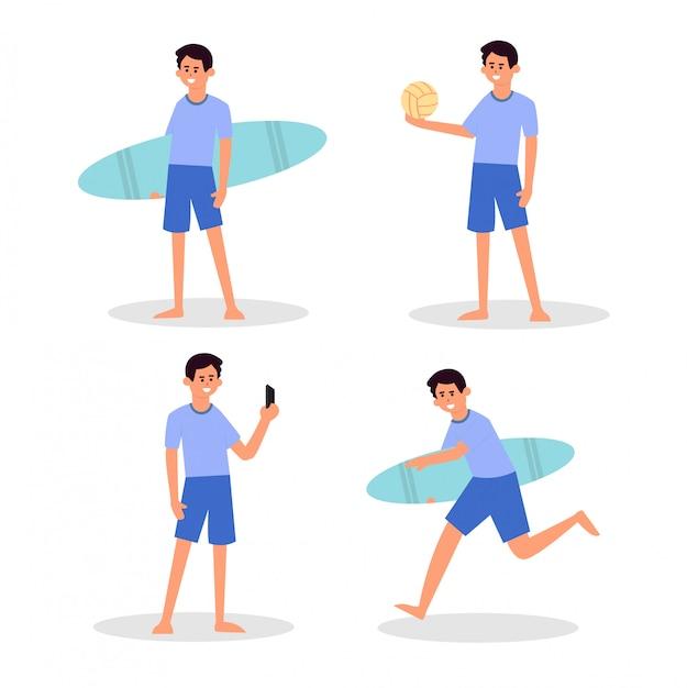 Sonniger tag am strand. sommeraktivitäten am strand. sport und freizeit. junge, surfer, junge selbst und junge handvolleyball und glückliches aktives leben Premium Vektoren