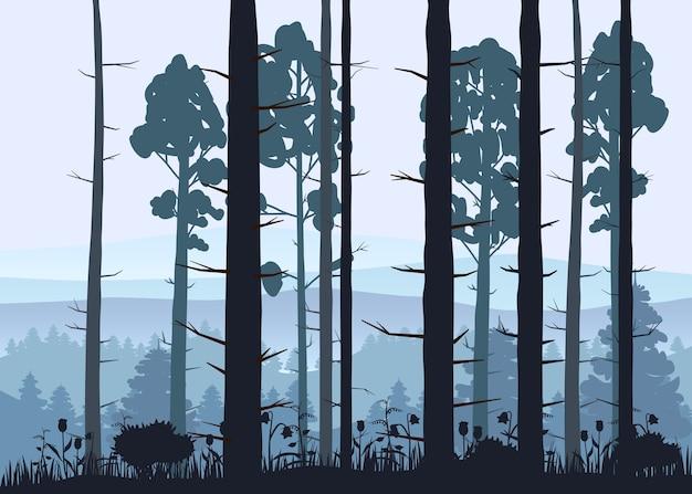 Sonniger waldhintergrund. illustration von wäldern im wald im sonnenlicht Premium Vektoren