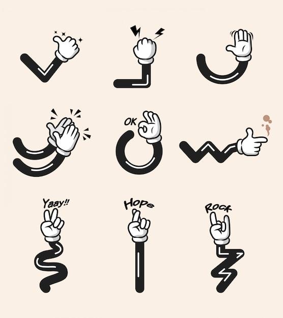 Sortierte sammlung der komischen karikaturhandgeste. hand und arme in getrennten gruppen. Premium Vektoren