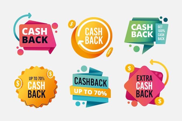 Sortiment an cashback-etiketten Kostenlosen Vektoren