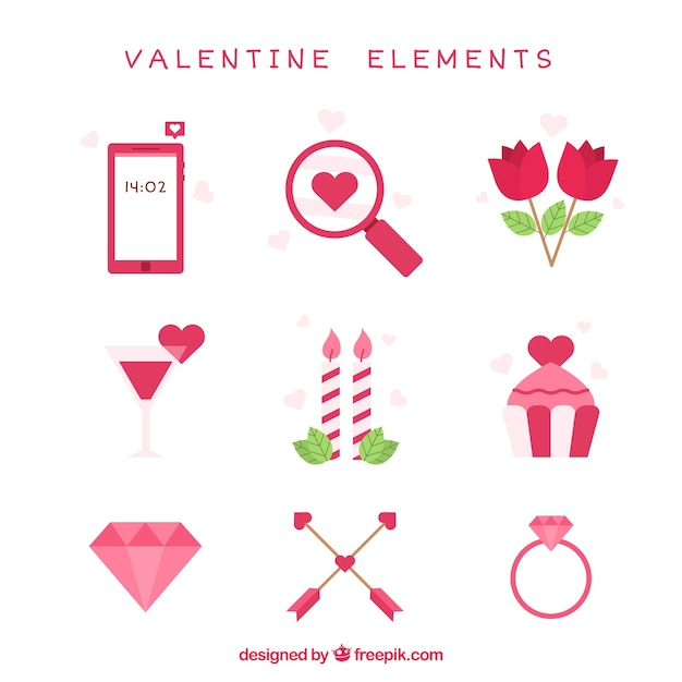 Sortiment von dekorativen valentine artikel im flachen for Design artikel
