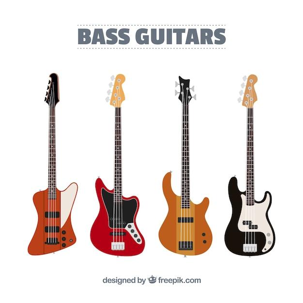 Sortiment von fantastischen bassgitarren in flachem design Kostenlosen Vektoren