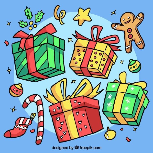 Kostenlose Weihnachtsgeschenke.Sortiment Von Handgezeichneten Weihnachtsgeschenke Download Der