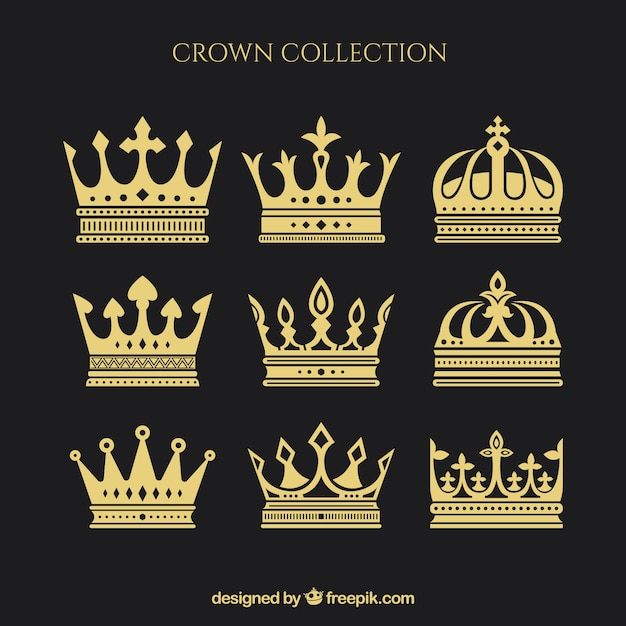 Sortiment von neun kronen in flachem design Kostenlosen Vektoren