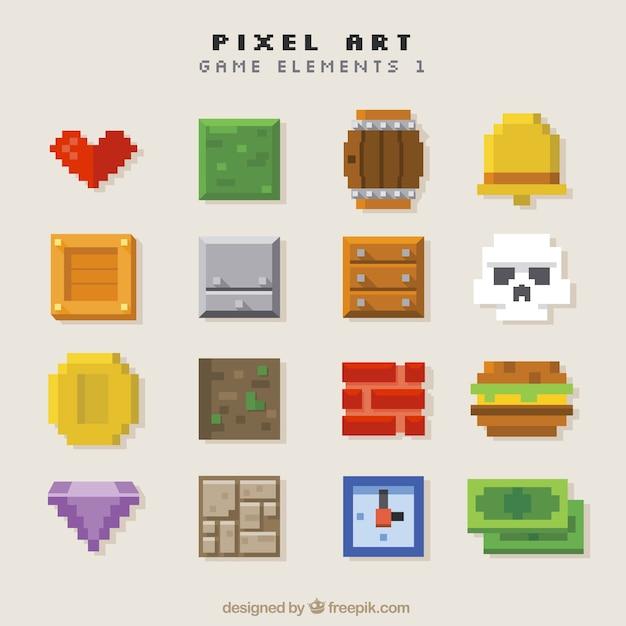 Sortiment von objekten videospiel in pixel-kunst Kostenlosen Vektoren