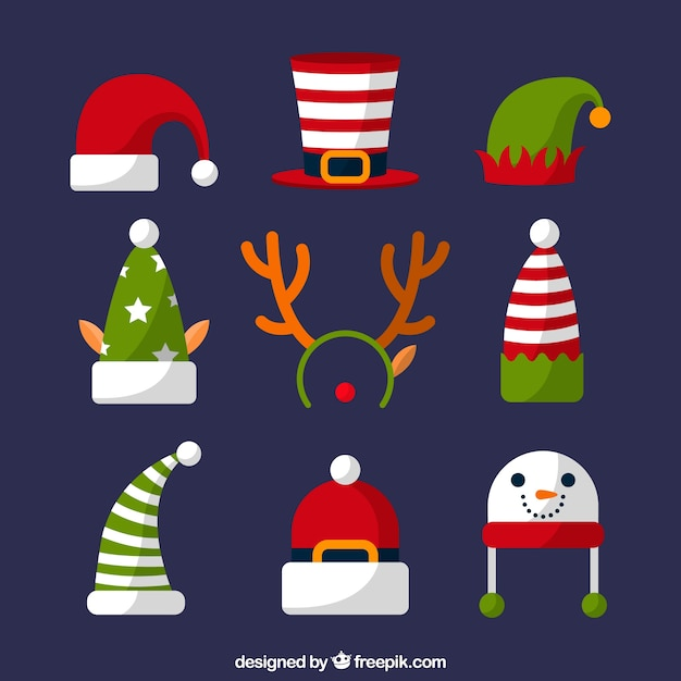Sortiment von weihnachtsmützen im flachen design Kostenlosen Vektoren