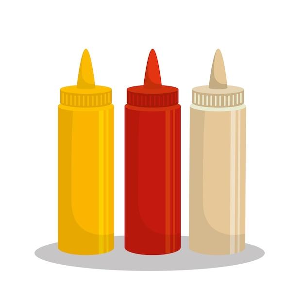 Soßen stellten flaschenikonenvektor-illustrationsdesign ein Premium Vektoren
