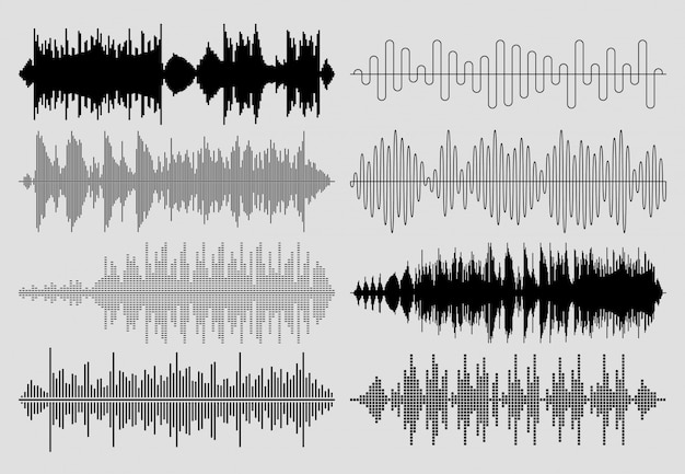 Sound musikwellen gesetzt. musikalische puls- oder audiodiagramme Premium Vektoren