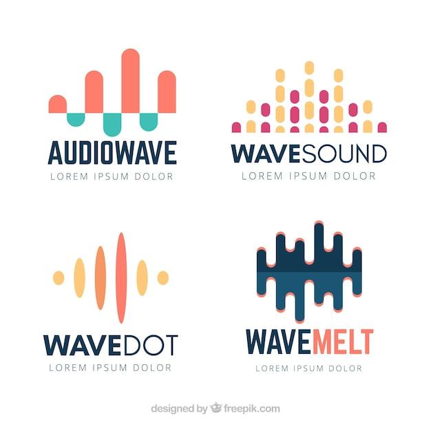 Sound-wave-logo-kollektion mit flachem design Kostenlosen Vektoren