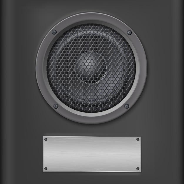 Soundlautsprecher mit metallplatte. Premium Vektoren