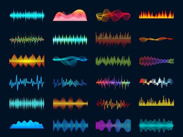 Soundtracksignalspektrum und studiomelodie schlagen vektorfrequenzmesserkonzept auf dunklem hintergrund Premium Vektoren