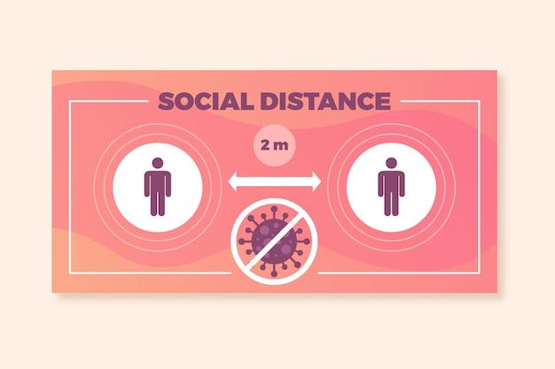 Soziale distanz banner zeichen Kostenlosen Vektoren