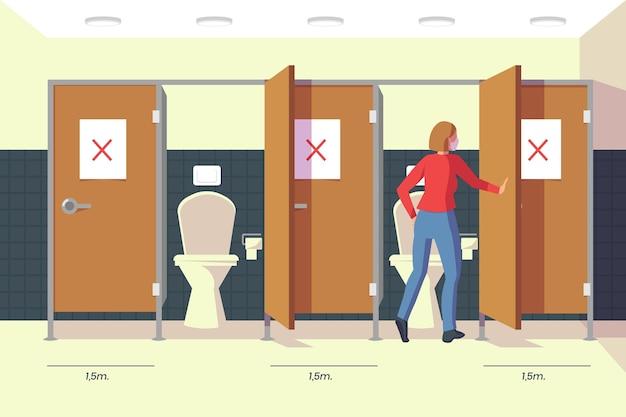 Soziale distanz in öffentlichen toiletten Kostenlosen Vektoren