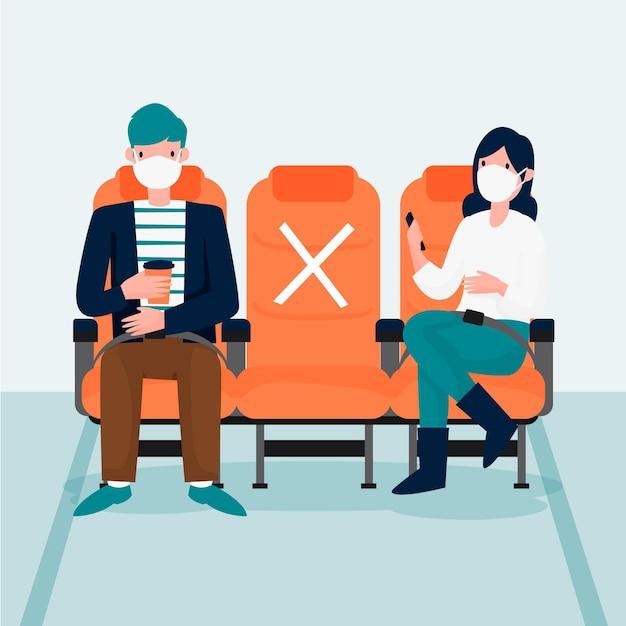 Soziale distanz zwischen passagieren Kostenlosen Vektoren