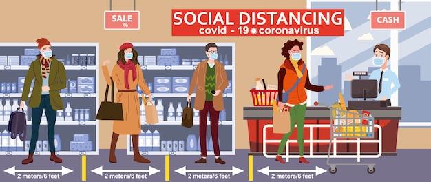 Soziale distanzierende supermarktkasse und crowd buyer in medizinischen masken Premium Vektoren