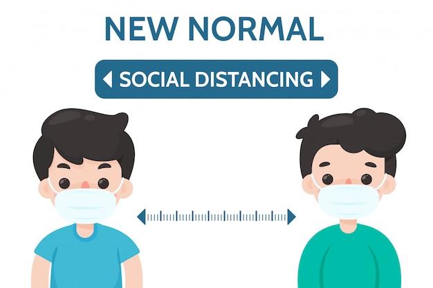 Soziale distanzierung. abstand zwischen ihnen und anderen, um eine infektion mit dem koronavirus zu verhindern. Premium Vektoren