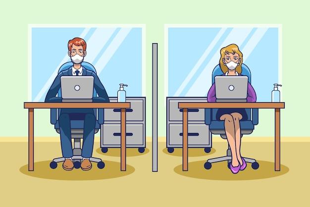 Soziale distanzierung am arbeitsplatz Kostenlosen Vektoren