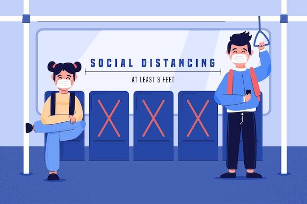 Soziale distanzierung im öffentlichen verkehr Kostenlosen Vektoren