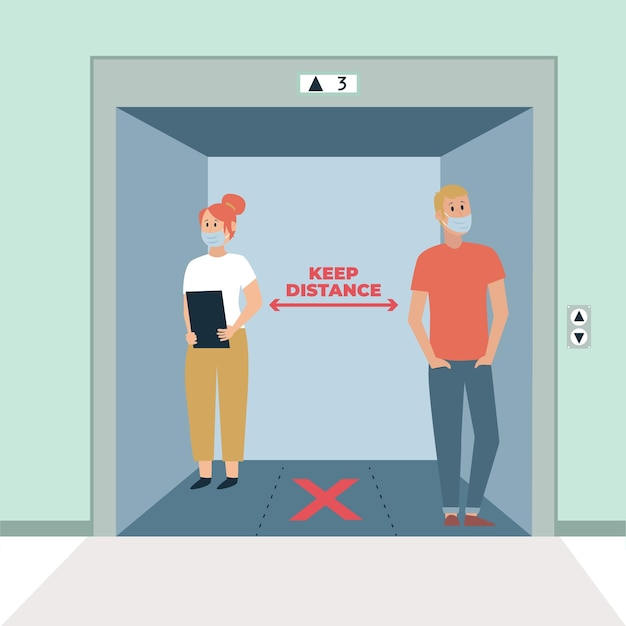 Soziale distanzierung in einem aufzug Kostenlosen Vektoren