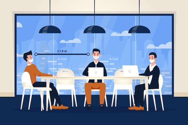 Soziale distanzierung in einem meeting Kostenlosen Vektoren