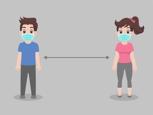 Soziale distanzierung, menschen, die abstand halten für infektionsrisiko und krankheit Premium Vektoren