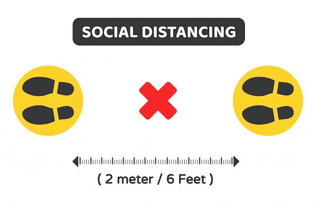 Soziale distanzierung. vektorsymbol auf dem boden zur anzeige des standorts der warteschlange halten sie 2 meter von anderen entfernt. Premium Vektoren