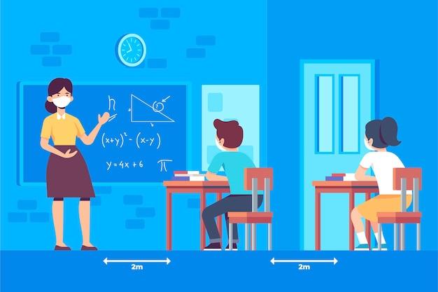 Soziale distanzierung zwischen schülern in der schule Kostenlosen Vektoren