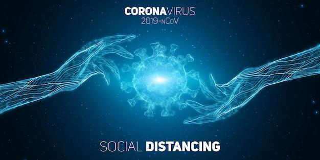 Soziale distanzierungskonzept zwei hände voneinander getrennt, um die covid-19-coronavrius-krankheit zu verhindern. abbildung zum schutz vor krankheitserregern. hintergrund des covid-19-viruskonzepts. Kostenlosen Vektoren