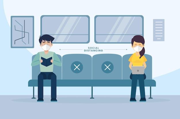 Soziale distanzierungsmaßnahme im öffentlichen verkehr Kostenlosen Vektoren